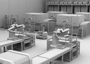 双腕ロボット、AGV無人搬送車、マシニングセンタがあるスマート工場のクレイレンダリングイメージの写真素材 [FYI04645925]
