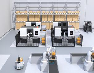 協働型双腕ロボット、AGV無人搬送車、マシニングセンタ、自動運転フォークリフトがあるスマート工場の写真素材 [FYI04645926]