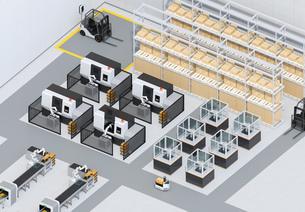 双腕ロボット、AGV無人搬送車、マシニングセンタがあるスマート工場のアイソメイメージの写真素材 [FYI04645929]
