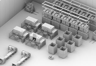 双腕ロボット、AGV無人搬送車、マシニングセンタがあるスマート工場のクレイレンダリングイメージの写真素材 [FYI04645930]