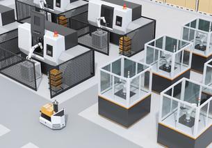 AGV無人搬送車、マシニングセンタ、ロボットセルトユニットがあるスマート工場のコンセプトイメージの写真素材 [FYI04645931]