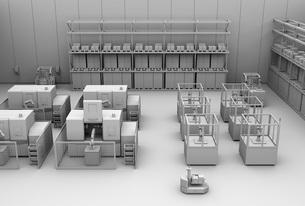 双腕ロボット、AGV無人搬送車、マシニングセンタがあるスマート工場のクレイレンダリングイメージの写真素材 [FYI04645935]