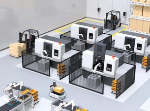 協働型双腕ロボット、AGV無人搬送車、マシニングセンタ、自動運転フォークリフトがあるスマート工場の写真素材 [FYI04645936]