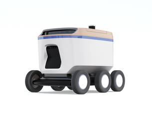 白バックにデリバリーロボットのイメージ。ラストワンマイルコンセプトの写真素材 [FYI04645939]