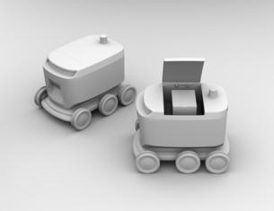 デリバリーロボットのクレイシェーディングイメージの写真素材 [FYI04645940]