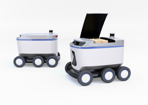 白バックに2台デリバリーロボットのイメージ。ラストワンマイルコンセプトの写真素材 [FYI04645943]