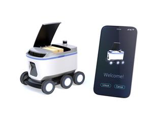 スマートフォンとデリバリーロボットのイメージ。スマートフォンに宅配アプリ画面が表示されているの写真素材 [FYI04645945]