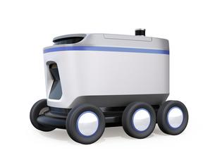 白バックにデリバリーロボットのイメージ。ラストワンマイルコンセプトの写真素材 [FYI04645946]