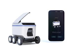 スマートフォンとデリバリーロボットのイメージ。スマートフォンに宅配アプリ画面が表示されているの写真素材 [FYI04645947]