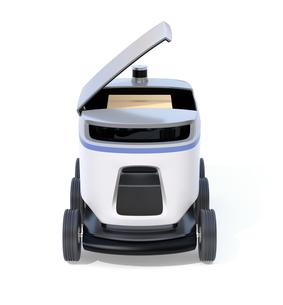 白バックにデリバリーロボットの正面イメージ。ラストワンマイルコンセプトの写真素材 [FYI04645948]