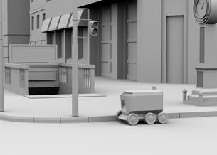 交差点を通過する配送ロボットのクレイレンダリングイメージの写真素材 [FYI04645950]