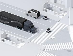 スクランブル交差点を通過する自動運転車と配送ロボットのアイソメイメージの写真素材 [FYI04645953]