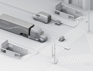 スクランブル交差点を通過する自動運転車と配送ロボットのアイソメのクレイレンダリングイメージの写真素材 [FYI04645954]