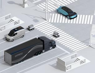 スクランブル交差点を通過する自動運転車と配送ロボットのアイソメイメージの写真素材 [FYI04645955]