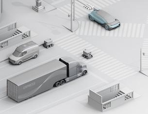 スクランブル交差点を通過する自動運転車と配送ロボットのアイソメのクレイレンダリングイメージの写真素材 [FYI04645956]