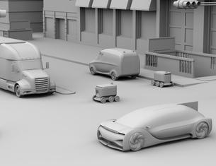 交差点を通過する配送ロボットのクレイレンダリングイメージの写真素材 [FYI04645958]