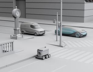 交差点を通過する配送ロボットのクレイレンダリングイメージの写真素材 [FYI04645959]