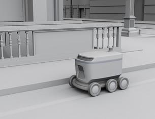 交差点を通過する配送ロボットのクレイレンダリングイメージの写真素材 [FYI04645962]