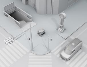 地下鉄の入り口を通過し交差点を渡ろうとする配送ロボットのクレイレンダリングイメージの写真素材 [FYI04645965]