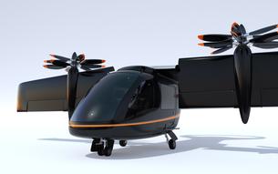 空飛ぶタクシーのクローズアップイメージ。短距離ライドシェアコンセプトの写真素材 [FYI04645977]