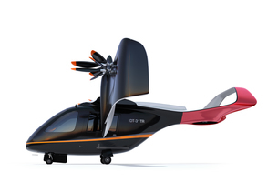 白バックに空飛ぶタクシーのイメージ。短距離ライドシェアコンセプトの写真素材 [FYI04645978]