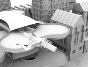 ヘリポートから離陸する空飛ぶタクシーのクレイレンダリングイメージ。短距離ライドシェアコンセプトの写真素材 [FYI04645982]