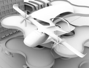 ヘリポートから離陸する空飛ぶタクシーのクレイレンダリングイメージ。短距離ライドシェアコンセプトの写真素材 [FYI04645984]