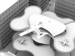 ヘリポートから離陸する空飛ぶタクシーのクレイレンダリングイメージ。短距離ライドシェアコンセプトの写真素材 [FYI04645986]