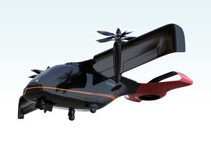 離着陸する空飛ぶタクシーのイメージ。短距離ライドシェアコンセプトの写真素材 [FYI04645997]