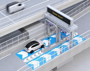 高速道路ETC料金所を通過する白色SUVのイメージ。ETC料金所コンセプトの写真素材 [FYI04646001]