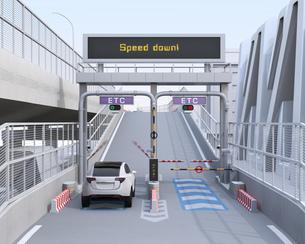 高速道路ETC料金所を通過する白色SUVのイメージ。ETC料金所コンセプトの写真素材 [FYI04646007]