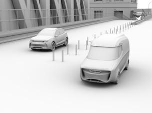 高速道路ETC料金所を通過し本線へ合流するSUVのクレイレンダリングイメージの写真素材 [FYI04646015]