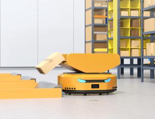 物流センターに仕分けを行うAMR自律型協働ロボットのコンセプトイメージの写真素材 [FYI04646019]