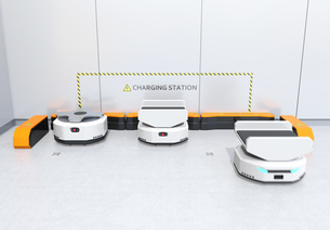 充電ステーションAMR自律型協働ロボットのコンセプトイメージの写真素材 [FYI04646023]