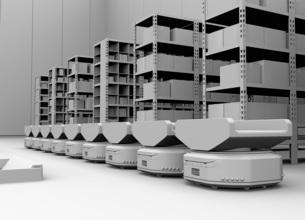商品棚の前に並んでいる仕分けAMR自律型協働ロボットのクレイレンダリングイメージの写真素材 [FYI04646028]