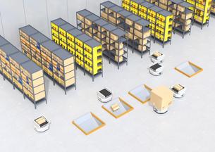 商品棚を運び、仕分けするAMR自律型協働ロボットのコンセプトイメージの写真素材 [FYI04646032]