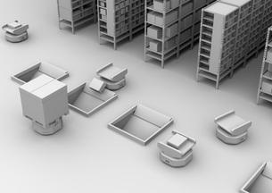 商品棚を運び、仕分けするAMR自律型協働ロボットのクレイレンダリングイメージの写真素材 [FYI04646033]