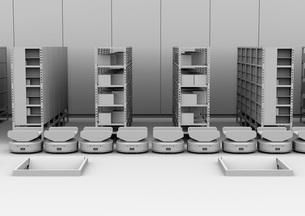 商品棚の前に並んでいる仕分けAMR自律型協働ロボットのクレイレンダリングイメージの写真素材 [FYI04646036]