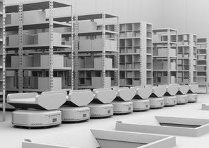 商品棚の前に並んでいる仕分けAMR自律型協働ロボットのクレイレンダリングイメージの写真素材 [FYI04646038]