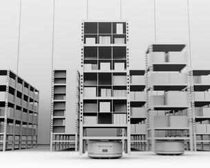 商品棚を運んでいるAMR自律型協働ロボットのクレイレンダリングイメージの写真素材 [FYI04646041]
