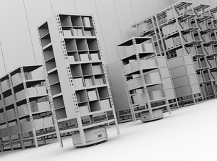 商品棚の前に並んでいる仕分けAMR自律型協働ロボットのクレイレンダリングイメージの写真素材 [FYI04646043]