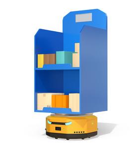 白バックに商品棚を運んでいるAMR自律型協働ロボットのコンセプトイメージの写真素材 [FYI04646045]
