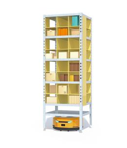 白バックに商品棚を運んでいるAMR自律型協働ロボットのコンセプトイメージの写真素材 [FYI04646046]