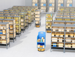 商品棚を運んでいるAMR自律型協働ロボットのコンセプトイメージの写真素材 [FYI04646048]