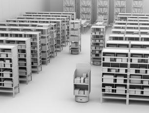 商品棚を運んでいるAMR自律型協働ロボットのクレイレンダリングイメージの写真素材 [FYI04646049]