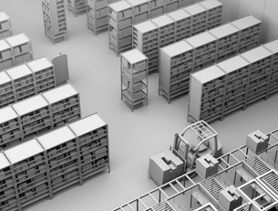 商品棚を運んでいるAMR自律型協働ロボットのクレイレンダリングイメージの写真素材 [FYI04646051]
