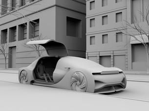 ライドシェア用自動運転車に乗車中の人のクレイレンダリングイメージの写真素材 [FYI04646053]