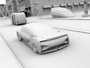 一般道に走行中の自動運転セダンとマイクロバスのクレイレンダリングイメージの写真素材 [FYI04646061]