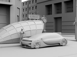 スマートフォンで自動運転車を予約し、乗車する人のクレイレンダリングイメージ。ライドシェアコンセプトの写真素材 [FYI04646064]