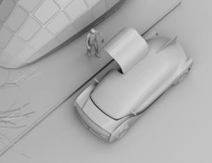 スマートフォンで自動運転車を予約し、乗車する人のクレイレンダリングイメージ。ライドシェアコンセプトの写真素材 [FYI04646068]